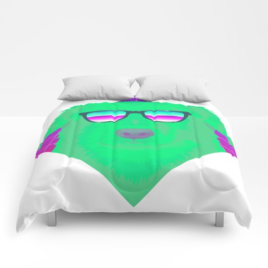 Cool green dog Comforters