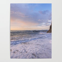 Golden hour with a lighthouse in the beach Poster