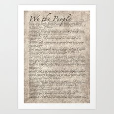 US Constitution - United States Bill of Rights Art Print