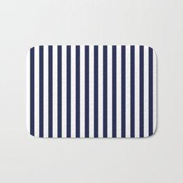 Navy Blue Sailing Stripe Pattern Bath Mat
