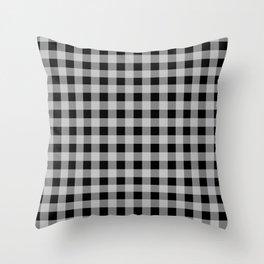 White on Black Gingham Squares | Throw Pillow