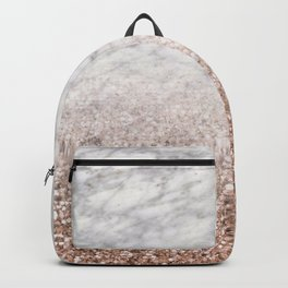 Bold ombre rose gold glitter - white marble Backpack