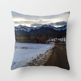 CN rolling through the Rockies, Near Brule Alberta Throw Pillow