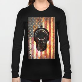 M1911 Colt 45 On Rusted American Flag Long Sleeve T-shirt