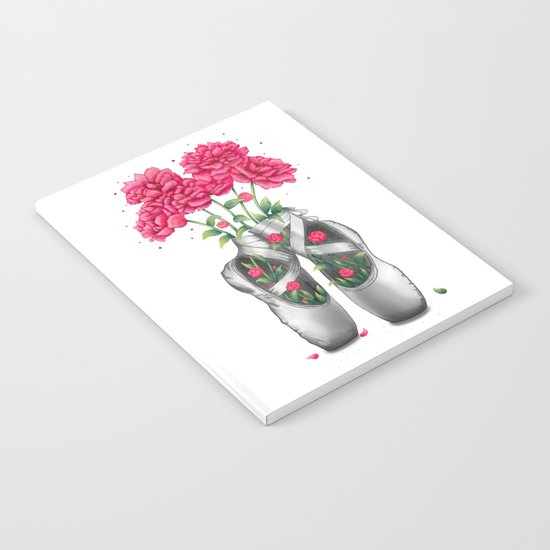 Pointe with pink peonies Notebook
