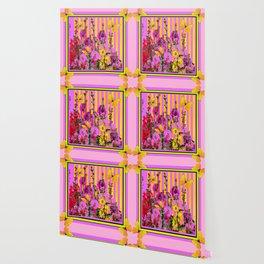 YELLOW BUTTERFLIES  PINK FLORAL GARDEN  ABSTRACT Wallpaper