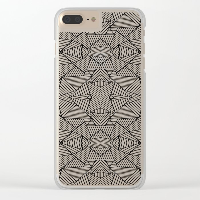 Abstract Mirror Black on White Clear iPhone Case