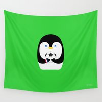 soccer Wall Tapestries featuring Penguin + Soccer by Rehan Butt