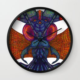 A fibre (felt-tip) pens illustration (pointillism) of an insect alien. Wall Clock
