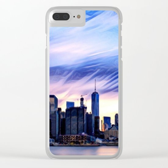 Romantic City Cityscape with Light Sunset and River Clear iPhone Case