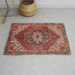 Persia Heriz 19th Century Authentic Colorful Blue Red Cream Vintage Patterns Rug