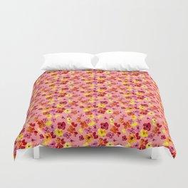 Olivia Florals on Pink Duvet Cover