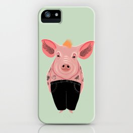 Cool Pig with Tattoos | Green iPhone Case