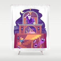 Tiny Worlds - Lavender Town Tower Shower Curtain