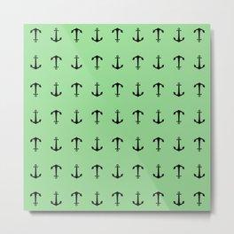 Anchors Away - Black anchors pattern on pastel green Metal Print