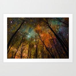 Black Trees Burnt Orange Teal Space Art Print