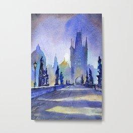 Charles Bridge in medieval city of Prague- Czech Republic.  Painte Metal Print