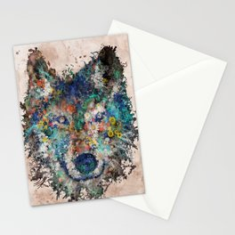 floral animals wolf Stationery Cards
