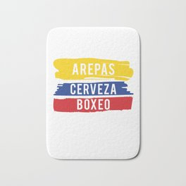 Arepas Cerveza Boxeo design Colombian flag Boxing fan Gift Bath Mat