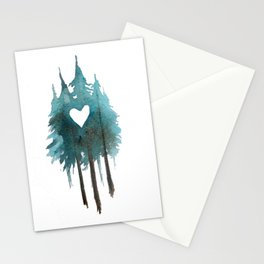Forest Love - heart cutout watercolor artwork Stationery Cards