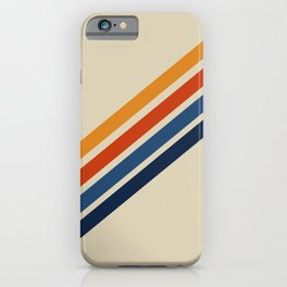 Retro 70s Stripe Colorful Rainbow Tan Classic Vintage iPhone Case