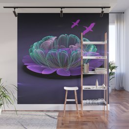 Water lily in a purple pond Wall Mural
