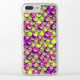 Purple Green Scales Clear iPhone Case