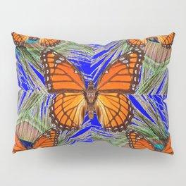 MONARCH BUTTERFLIES BLUE PEACOCK FEATHERS ART Pillow Sham