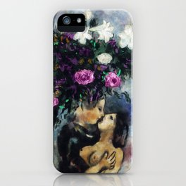 Lovers Under Calla Lilies & Flowers by Marc Chagall iPhone Case