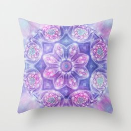 Daydream Mandala in Purple, Blue and Pink Throw Pillow