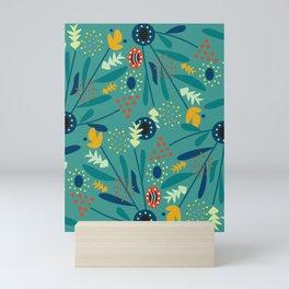 Floral dance in blue Mini Art Print