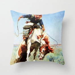 """Bronco Rider"" Western Art by W Herbert Dunton Throw Pillow"