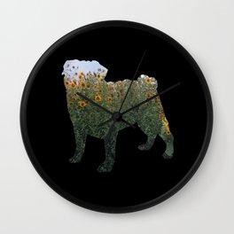 Flowered Pug Silhouette Wall Clock