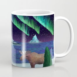 Northern Lights Over Snowscape Coffee Mug