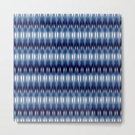 small geo ikat rows in reverse blue Metal Print