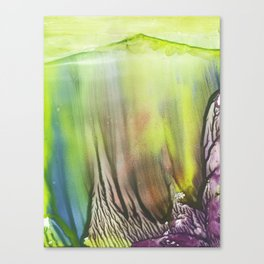 Waterfall of colors - abstract landscape watercolor monotype Canvas Print