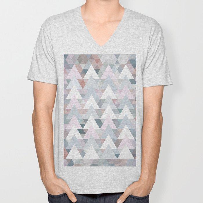 Pastel Graphic Winter Trees on Geometry #abstractart Unisex V-Neck