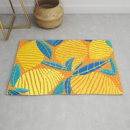 Striped Lemons - Whimsical Fruit Design Rug