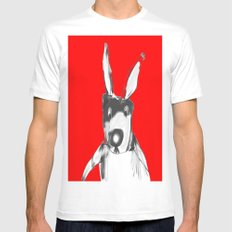 RED RABBIT MEDIUM White Mens Fitted Tee