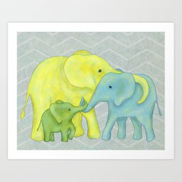 Elephant Family of Three in Yellow, Blue and Green Art Print
