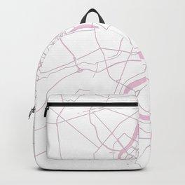 Bangkok Thailand Minimal Street Map - Pastel Pink and White II Backpack