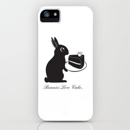 Bunnies Love Cake, Bunny Illustration, cake lovers, animal lover gift iPhone Case