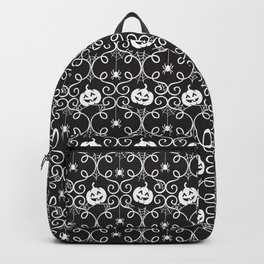 Halloween Pattern Pumpkins Spiders and Spider webs black and white Backpack