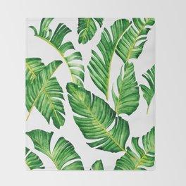 Banana Leaves pattern in watercolor Throw Blanket