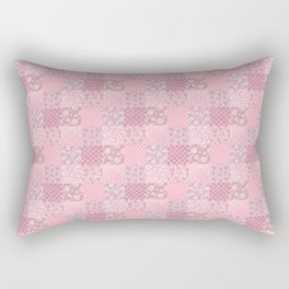 Pink Floral Patchwork Rectangular Pillow