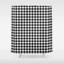 Classic Black and White Western Cowboy Buffalo Check Shower Curtain