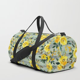 Modern hand painted yellow green watercolor stripes floral Duffle Bag