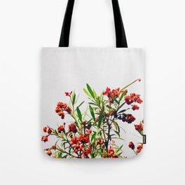 Minimal Red & Green Floral (Color) Tote Bag