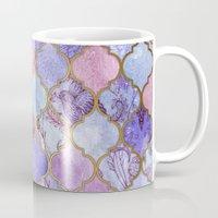 royal Mugs featuring Royal Purple, Mauve & Indigo Decorative Moroccan Tile Pattern by micklyn