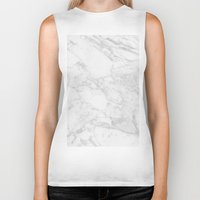 white marble Biker Tanks featuring White Marble by Coconuts & Shrimps